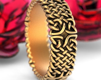 Celtic Wedding Ring With Celtic Knots in Gold, 10K 14K 18K, Palladium or Platinum, Made in Your Size CR-1103