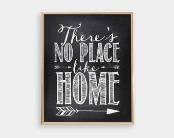 Kitchen Art Print - There's no place like home - The Wizard of Oz - Chalkboard background - Housewarming gift - Apartment Decor - SKU:517
