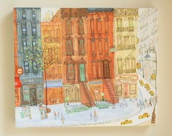 Greenwich Village Shops NEW YORK CITY, Stretched Box Canvas, New York canvas Art, Giclee Print, Roccos Cafe, Amys Bread, Murrays Cheese Shop