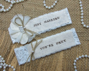 Just Married Wedding Garter Set ,Rustic Country Chic Wedding Garter Set,Wedding Garters