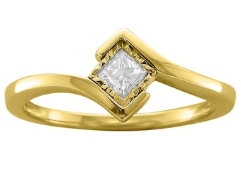 14k Yellow Gold Princess-cut Solitaire Diamond Bezel-Set Engagement Ring (1/5 cttw, I-J, I1-I2)
