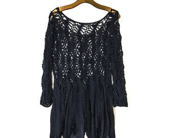 70s Style CROCHET TOP Crochet TUNIC Plus Size Tunic Tunic Cover Up Tunic Tops for Women Tunic Tops Vintage Clothing Boho Boho Tunic Dress L