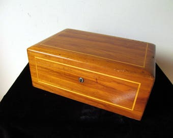 Vintage Humidor Cigar Box w/ Milk Glass Lined Interior & String Inlay Decoration Polished Hardwood Mortise and Tenon Corners