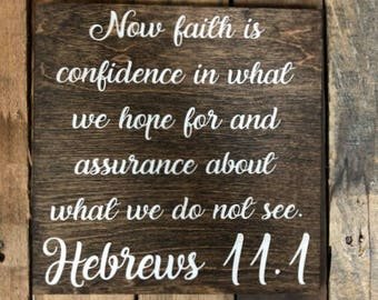 Now Faith Vinyl Sign, Stained Home Decor, Wooden
