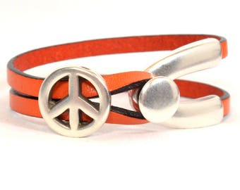 10% Off Orange Double Strand Wishbone Bracelet with Button Wishbone Clasp and Peace Slider in Antique Silver  (5F-529)
