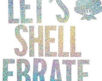 Let's Shellebrate Glitter Banner | Birthday | Wall Art | Mermaid Party | Under the Sea | Mermaid Room | Mermaid Decor | Under the Sea Party