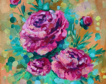 happy abstract original painting- floral painting- pink-wall art- floral painting- oil painting-abstract art-canvas- small painting- decor
