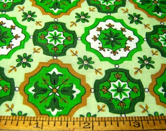 "Vintage 1950's Cotton 36"" Wide DAISIES MEDALLIONS Green Brown White 36"" x 39"" Inv1*"