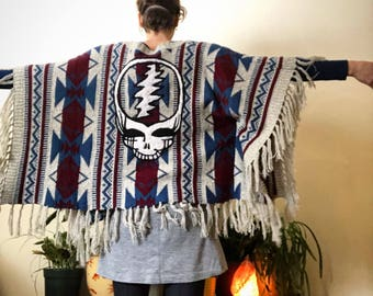 One of a Kind Handfelted Steal Your Face on Upcycled Tribal Poncho