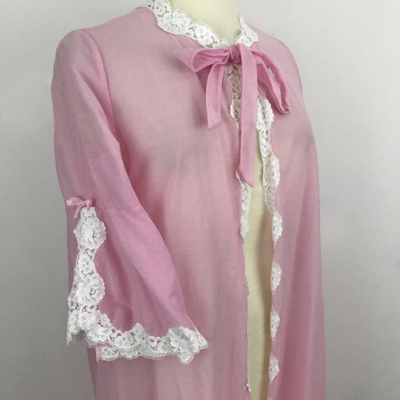 Vintage gown pink peignoir frilly lace neckline sheer nightie robe 1960s baby pink brushed nylon ribbon long pin up budoir UK 14