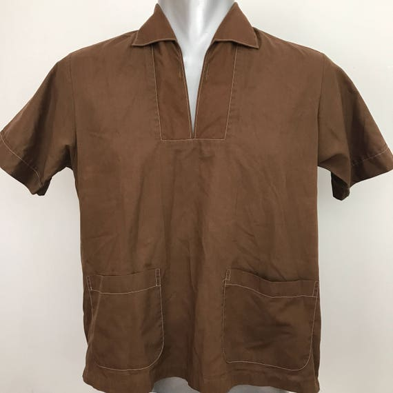 "Vintage shirt vintage menswear brown polyester cotton beach shirt cuban style short sleeve summer top pyjama collar cotton shirt 38"" small p"