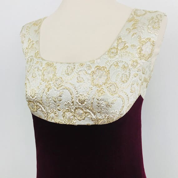 1960s dress red velvet gold brocade UK 10 column Jackie O prom style evening christmas cocktail gown vintage wedding burgundy maxi