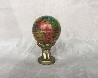 Atlas World Globe Pencil Sharpener Germany - Vintage Globe Decor - Miniature World Globe - Earth Globe - Unique Gift for Him