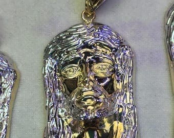 Christ face ,the face of Christ Pendant 14k Yellow Gold
