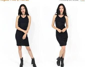 50% OFF Vtg 90s Black Tie Back Mini Bodycon Bandage Dress SZ Medium - Minimal Minimalist Grunge Goth