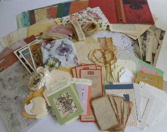 Vintage junk journal kit/book cover/A4 paper/vintage text/stamp set/tea dyed papers/mixed media/scrapbooking/