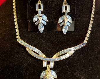 Silvertone and light blue rhinestone necklace set 1960's