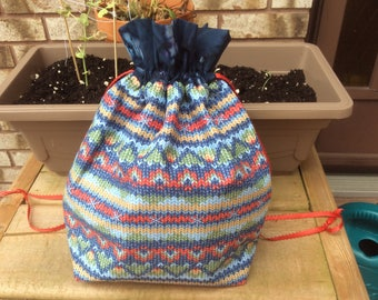 Small Knit or Crochet Project bags - knittng print