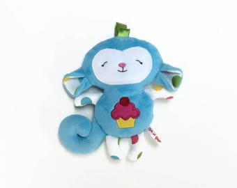 "PROMO plush blue monkey, size 8 ""applique cupcake on his belly, gift for baby shower gift"