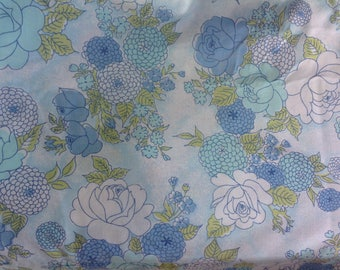 Vintage Floral Twin Flat Sheet Blue Green and Aqua Flowered Bed Sheet