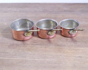 Vintage 3pc set lot small French copper cookware pots pans tin lined