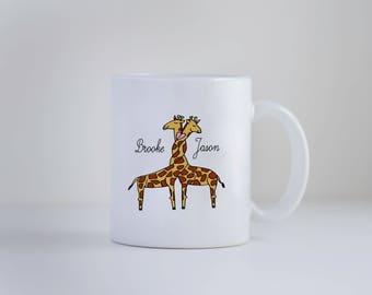Valentines Day Gift, Love Mug, Giraffe, Personalized Mug, Personalized Gift, Giraffe Mug