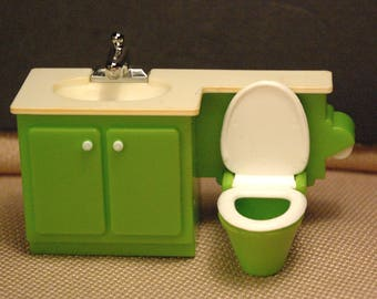Vintage Fisher Price dollhouse #250/280 sink and toilet bathroom appliance (from set #253)