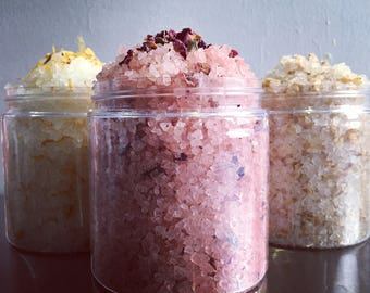 Bath Salt, Relaxing and Soothing, with Dead Sea Salt, Flowers, Plants and Essential Oils