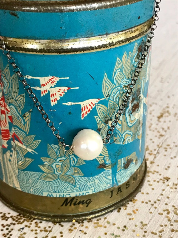 Full moon. One large white pearl suspended from antiqued sterling chain. Handmade by ladeDAH! Jewelry.