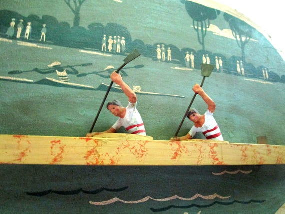 Curtis Jere Wall Decor, Boys in the Boat, 1936 Olympics, Dimensional Plaque, University of Washington Crew, Signed 1982
