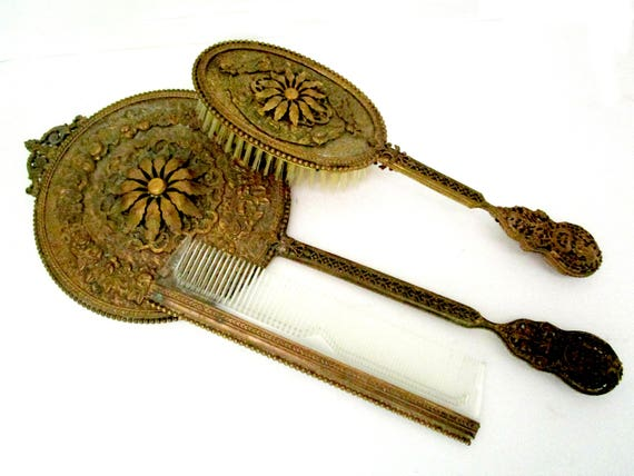 Apollo Ormolu Dresser Set, Apollo Studios, Ornate Vanity Set, Hand Mirror, Hair Brush and Comb, 1910s