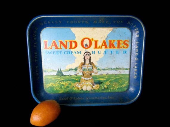 Land O Lakes Metal Tray, Vintage Serving Tray, Land O Lakes Butter, Farmhouse Rustic Decor, Kitchen Decor