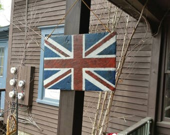 Union Jack Flag hand painted on Vermont roofing slate.