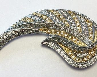 Jackie Kennedy Leaf Brooch - Two Tone, Crystals, Box and Certificate