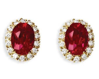 Jackie Kennedy Ruby Earrings - Gold Plated, Simulated Gemstones, Box, Certificate
