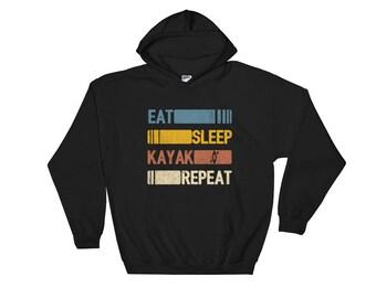 Eat Sleep Kayak Repeat Funny Vintage Retro Gift Hoodie