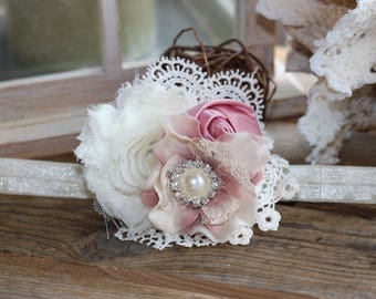 Ivory and hydrangea accent in Dusty Rose Headband