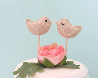 Love Birds Cake Topper, Wedding Cake Topper, Rustic Cake Topper, Burlap Cake Topper, Burlap Love Birds, Woodland Cake Topper, Boho Topper.
