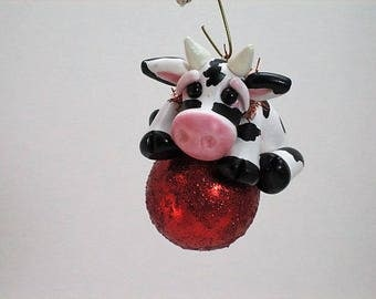 Cow Ornament, Christmas Cow, Cow Decor, Hereford Ornament, Hereford Gift, Cow, Black and White, Moo