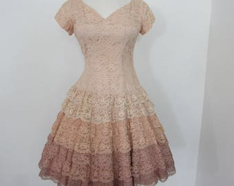 1950s - Early 1960s Tiers of Lace Party Dress with Graduated Colors