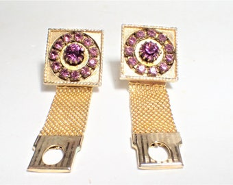 Purple Rhinestone Mesh Wrap Cufflinks Gift for Him Gift for Her Unisex
