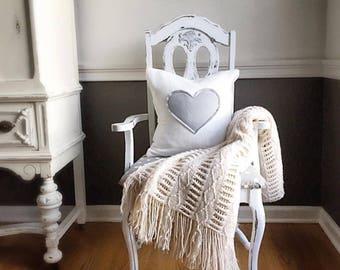 Fleece Heart Pillow, Valentines Decor, Decorative Pillow Cover, Grey Heart, Pillow Cover, Farmhouse Style, Soft White, Shabby Chic