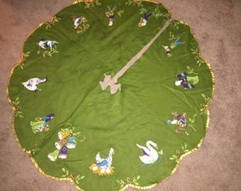 Bucilla felt and sequined tree skirt featuring 12 days of Christmas