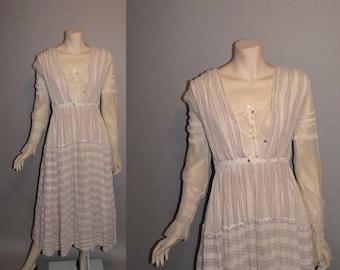 ON SALE Vintage 1910s On the Boardwalk Titanic Edwardian Tea Dress Linen Womens Dress - M