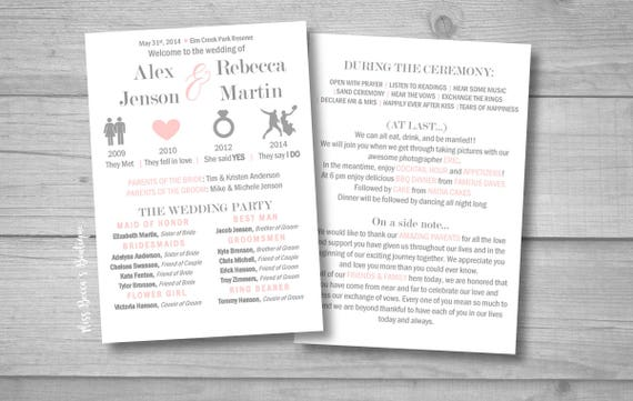 Relationship Timeline Wedding Program Funny DIY Template Modern Bride Laid Back Decor