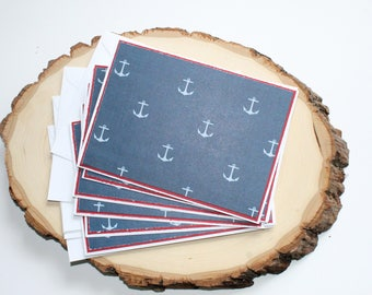 Anchor Card Set - Thank You Card Set - Wedding Cards - Greeting Cards - Hello Cards - Encouragement Cards - Blank Card Set of 6