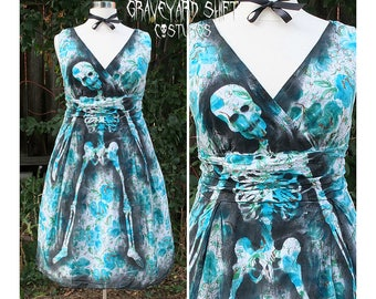 Zombie Housewife// Plus Size // Halloween Costume // Evil Housewife // Skeleton Dress Evil June Cleaver Ghastly Garden Party costume