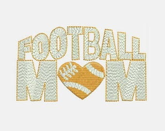 Football Mom Love heart Machine Embroidery Design - Instant Download Filled Stitches Design 307 C
