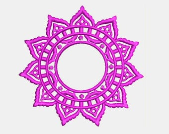 Crochet Lace Circle Monogram Frame Monogram Font Frame Machine Embroidery Designs Instant Download 578G
