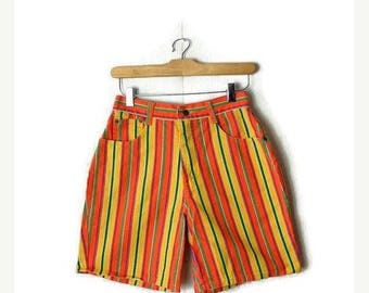 ON SALE Vintage Colorful/ Orange Stripe High Waist Denim Shorts from 1980's/W25*